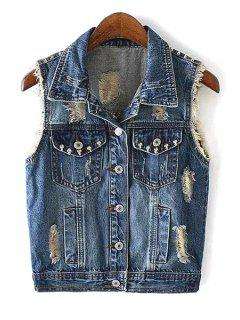 Rivet Embellished Single-Breasted Denim Waistcoat - Blue Xl