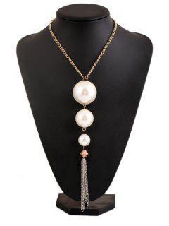 Faux Pearl Tassel Necklace - White
