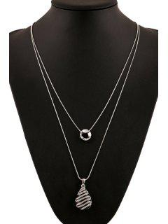 Rhinestone Inlaid Color Glazed Drop Necklace - Black