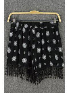 Floral Print Tassels Spliced Black Shorts - Black