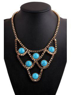 Turquoise Hollow Necklace - Golden