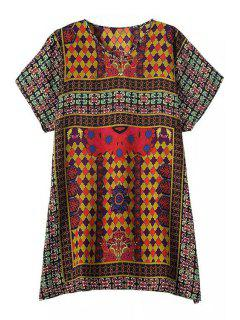 Colorful Tiny Floral Print Short Sleeve Dress - Earthy S