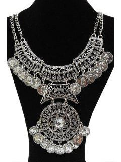 Rhinestone Coin Necklace - Silver