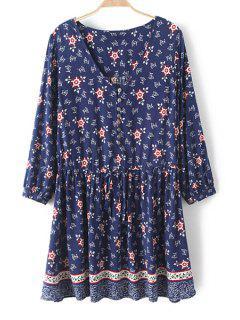 Tiny Floral V Neck Nine-Minute Sleeve Dress - Purplish Blue L