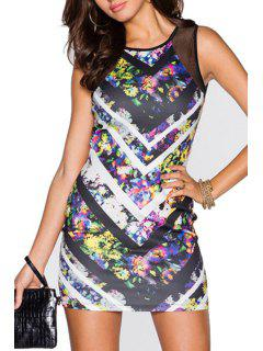 Floral Print Chevron Stripes Mesh Design Club Dress - L