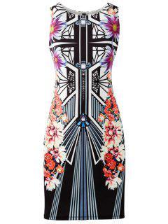 Geometric And Flower Print Bodycon Club Dress - Black L