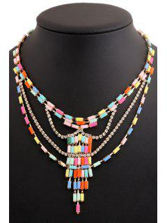 Colored Beads Rhinestone Necklace