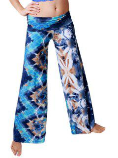 Printed Wide Leg Colored Exumas Pants - Blue L
