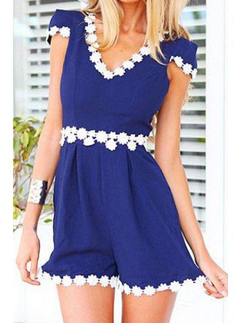 shops White Floral Lace Splicing Short Sleeve Romper - BLUE S Mobile