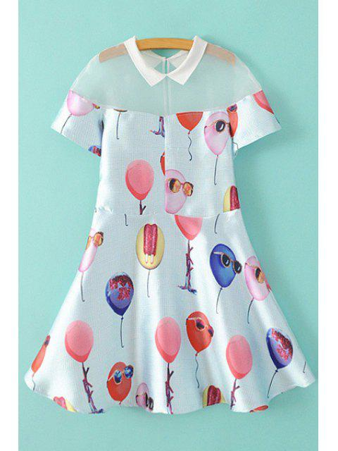 best Balloon Print Short Sleeve A Line Dress - WHITE S Mobile