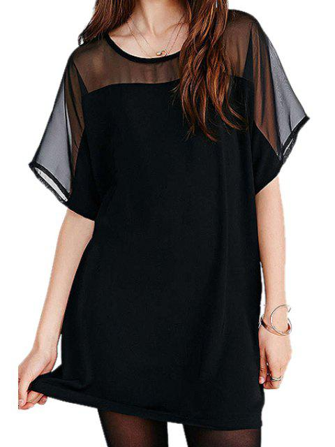 shop Chiffon Spliced Short Sleeve Dress - BLACK M Mobile