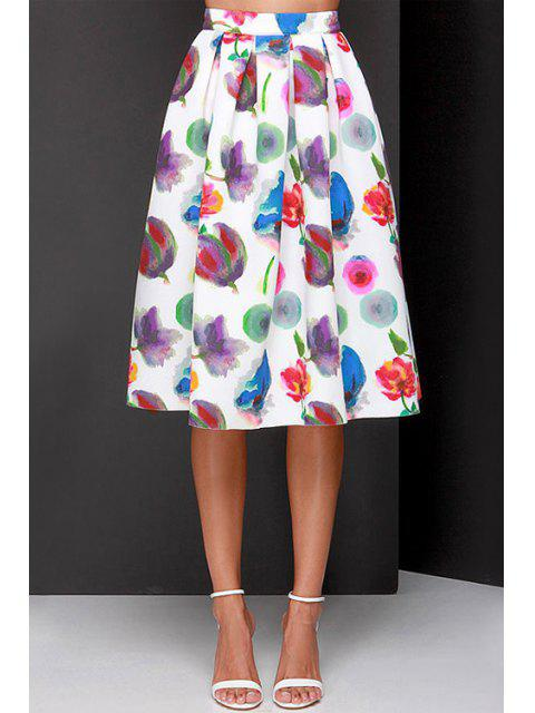 online Full Flower Print A Line Midi Skirt - WHITE L Mobile