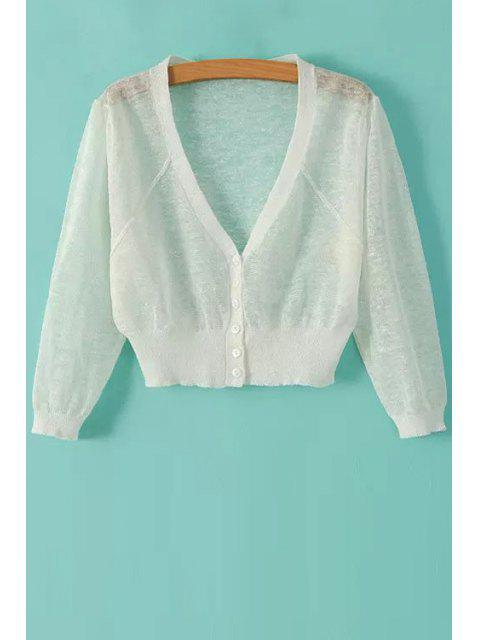 outfits V-Neck Solid Color Cardigan - WHITE ONE SIZE(FIT SIZE XS TO M) Mobile
