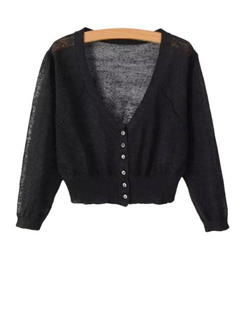 latest V-Neck Solid Color Cardigan - BLACK ONE SIZE(FIT SIZE XS TO M) Mobile