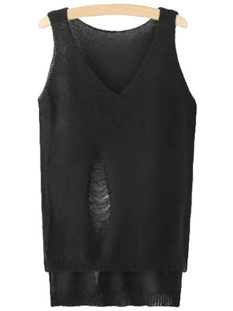 buy Solid Color Hole High Low Sleeveless Sweater - BLACK ONE SIZE(FIT SIZE XS TO M) Mobile