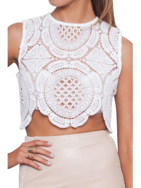chic Round Neck Crochet Flower Hollow Out Crop Top - WHITE L Mobile
