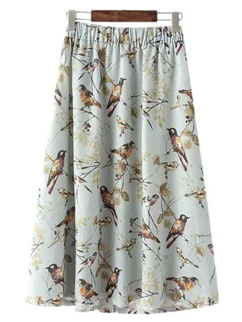 womens Full Bird Print A Line Skirt - WHITE ONE SIZE(FIT SIZE XS TO M) Mobile