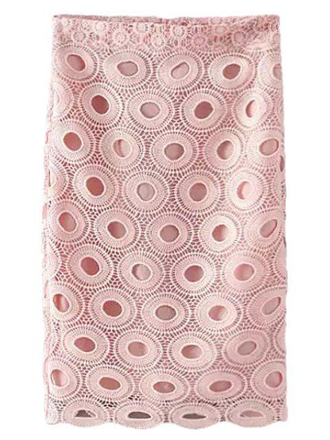 women Pink Crochet Pencil Skirt - PINK S Mobile