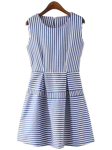 women's Stripes Spliced A Line Sundress - STRIPE S Mobile