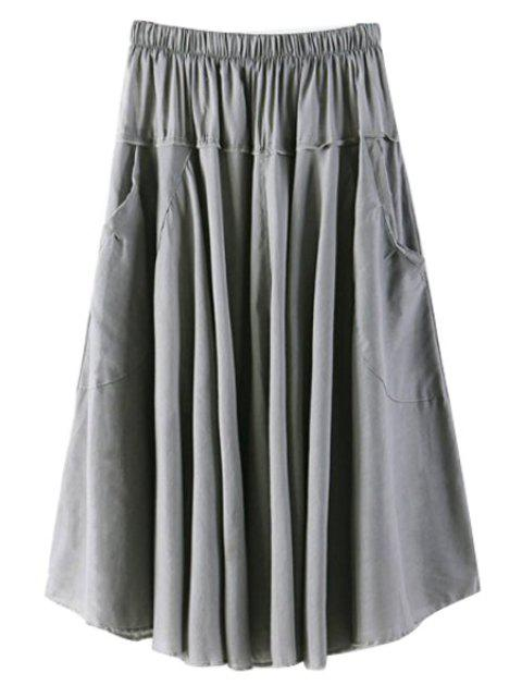 best Solid Color Pocket Elastic Waist Long Skirt - GRAY ONE SIZE(FIT SIZE XS TO M) Mobile