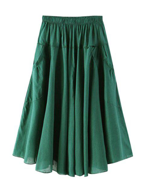 outfit Solid Color Pocket Elastic Waist Long Skirt - BLACKISH GREEN ONE SIZE(FIT SIZE XS TO M) Mobile