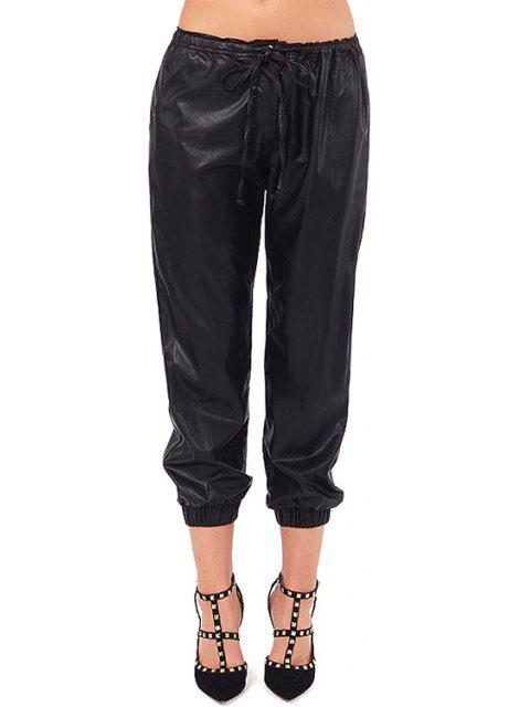 ladies Solid Color PU Leather Tie-Up Pants - BLACK M Mobile