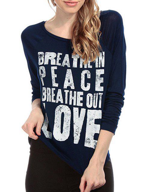 fancy Letter Print Long Sleeve T-Shirt - BLUE S Mobile
