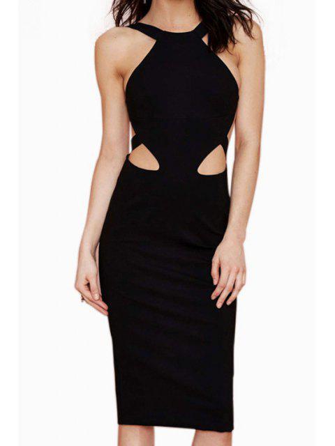 shops Black Bodycon Sleeveless Midi Dress - BLACK S Mobile