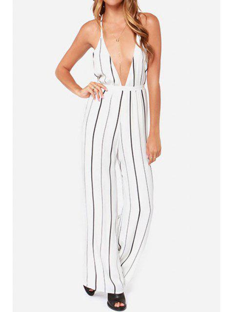 fashion Stripe Spaghetti Strap Wide Leg Jumpsuit - STRIPE XL Mobile