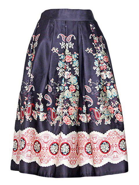 women's Vintage Print A Line Midi Skirt - BLACK ONE SIZE(FIT SIZE XS TO M) Mobile