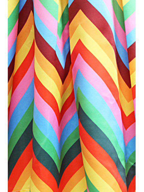 unique Zig Zag Print A Line Midi Skirt - YELLOW L Mobile