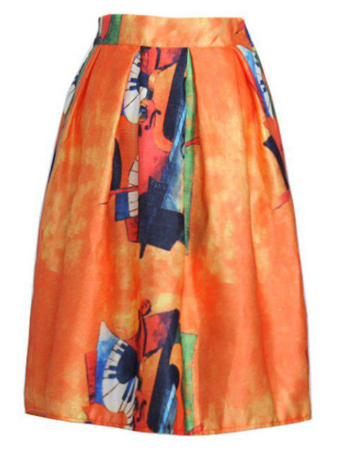 sale Abstract Print A Line Midi Skirt - ORANGE ONE SIZE(FIT SIZE XS TO M) Mobile