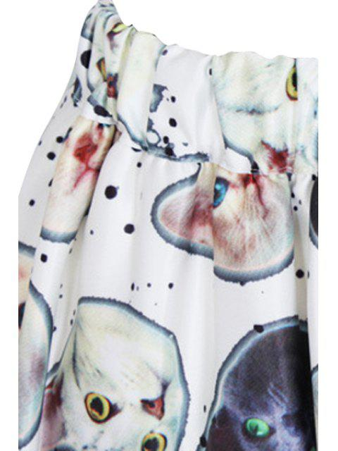 fashion Kitten Print A Line Midi Skirt - WHITE ONE SIZE(FIT SIZE XS TO M) Mobile