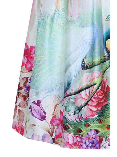 fancy A Line Peacocks Print Midi Skirt - APRICOT ONE SIZE(FIT SIZE XS TO M) Mobile