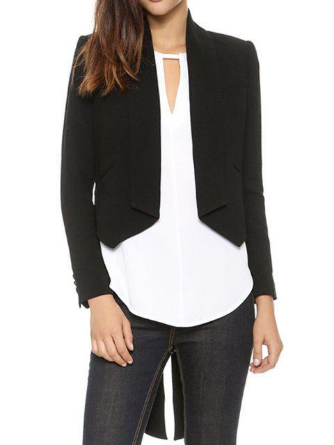 fashion Asymmetrical Swallow-Tailed Long Sleeve Blazer - BLACK S Mobile