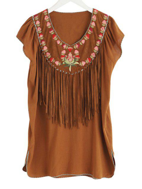 women's V-Neck Flower Embroidery Tassels Spliced Dress - CAMEL M Mobile