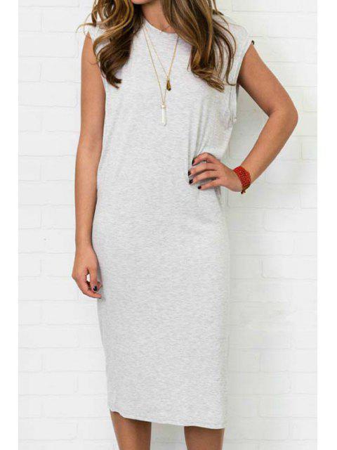 online Gray Sleeveless Side Slit Dress - GRAY L Mobile