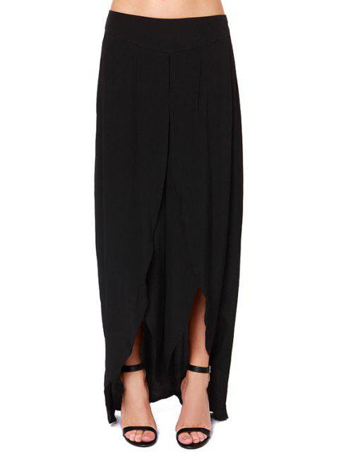 women Solid Color High Slit Zipper Fly Pants - BLACK XL Mobile