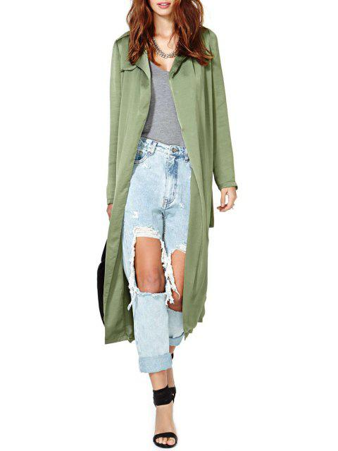 shops Turn-Down Collar Solid Color Belt Trench Coat - ARMY GREEN XL Mobile