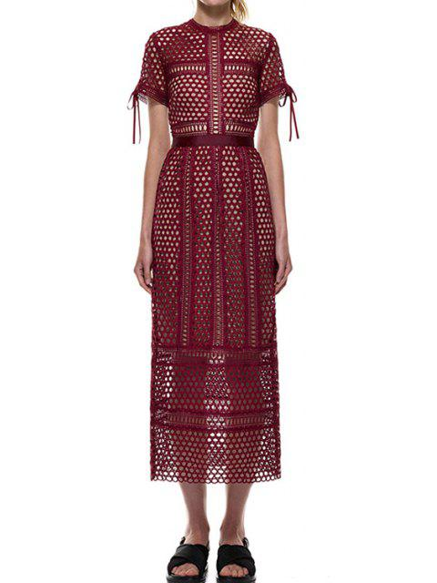 trendy Short Sleeve Mesh Design Spliced Lace Dress - WINE RED M Mobile