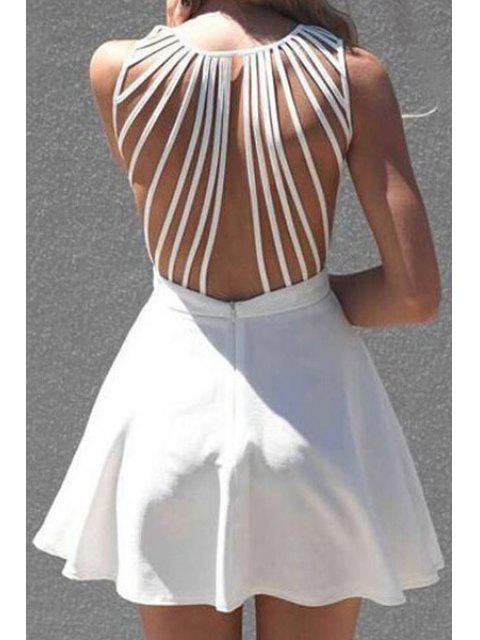 shop White Sleeveless Backless A Line Dress - WHITE M Mobile