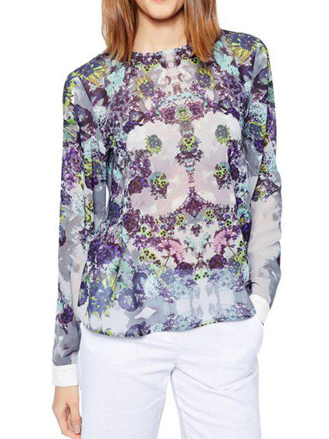 Tiny Floral Print Back Buttons Fly Shirt - Pourpre XL Mobile