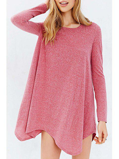 new Long Sleeve Irregular Hem Pink T-Shirt - PINK M Mobile
