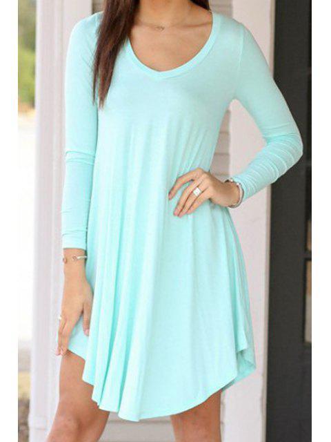 trendy Light Blue Long Sleeve A Line Dress - LIGHT BLUE M Mobile