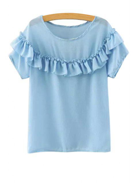 online Ruffled Short Sleeve Chiffon Blouse - BLUE M Mobile