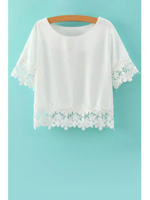 chic Short Sleeves Lace Spliced T-Shirt - WHITE M Mobile