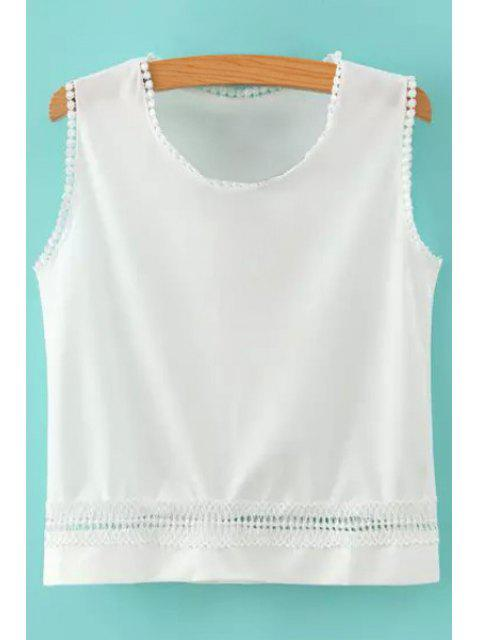 best Hollow Solid Color Tank Top - WHITE M Mobile