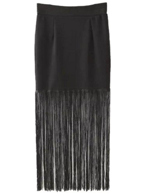 affordable Tassels Black High Waisted Skirt - BLACK M Mobile