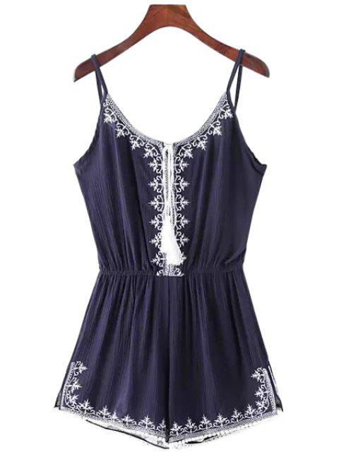 ladies Spaghetti Strap Tie-Up Embroidery Sleeveless Romper - BLUE M Mobile