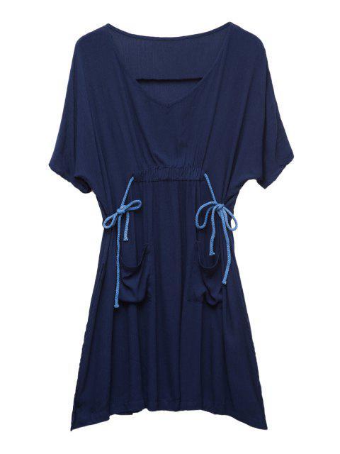 La raja del lado Bolsillos de vestir de manga mitad Ruffle - Azul Purpúreo 2XL Mobile